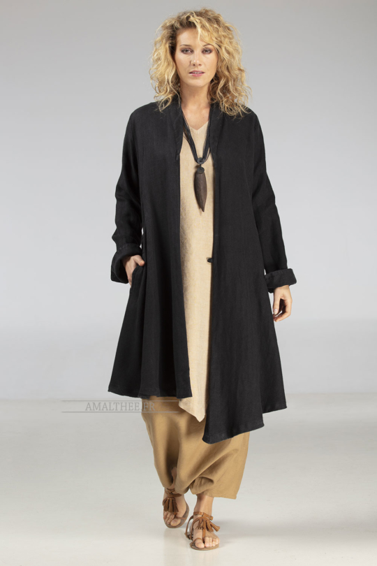 Black linen coat for women from designer Coats