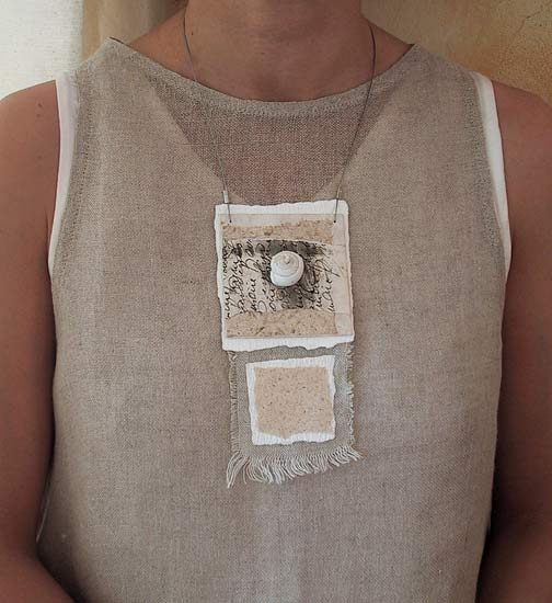 paper and linen necklace Jewellery