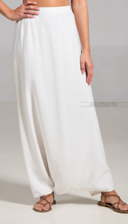 Sarouel/skirt off-white mixed linen Plus sizes