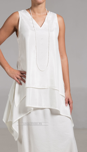 Elegant  top  made of  veil of silk white color Sleeveless tops