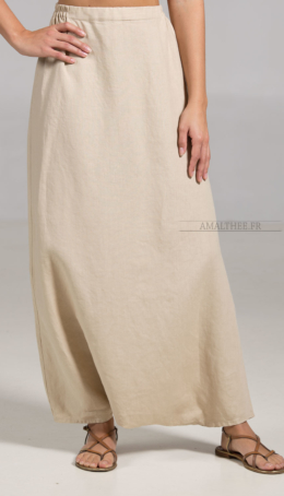 Sand Beige linen Sarouel-skirt Plus sizes