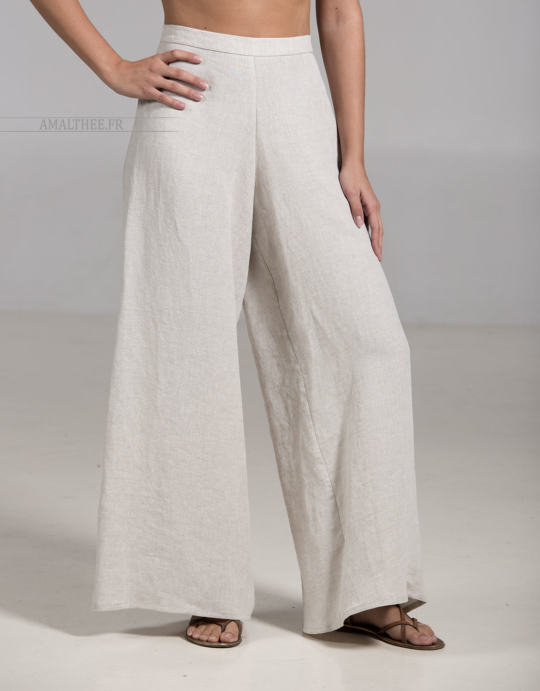 Oatmeal linen BABA trousers Trousers