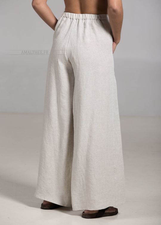 Oatmeal linen BABA trousers Tailor made