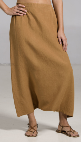 Tobacco color linen sarouel-skirt Plus sizes