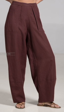 Mahogany  Linen Bulle Trousers Trousers
