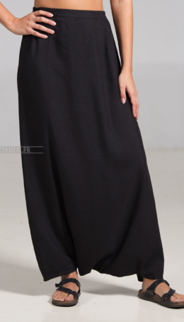 skirt-sarouel harem pant made of black linen Plus sizes
