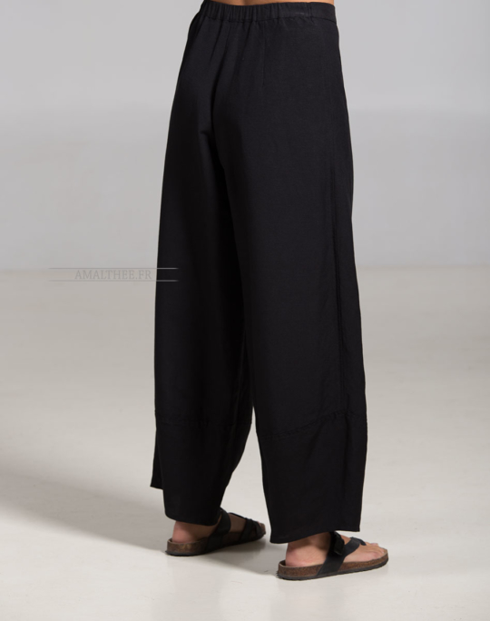 Large black Bulle linen pants Trousers