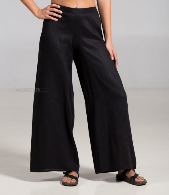 Black linen Baba trousers Tailor made