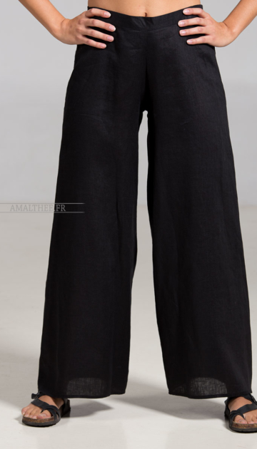 Black linen Baba trousers Trousers
