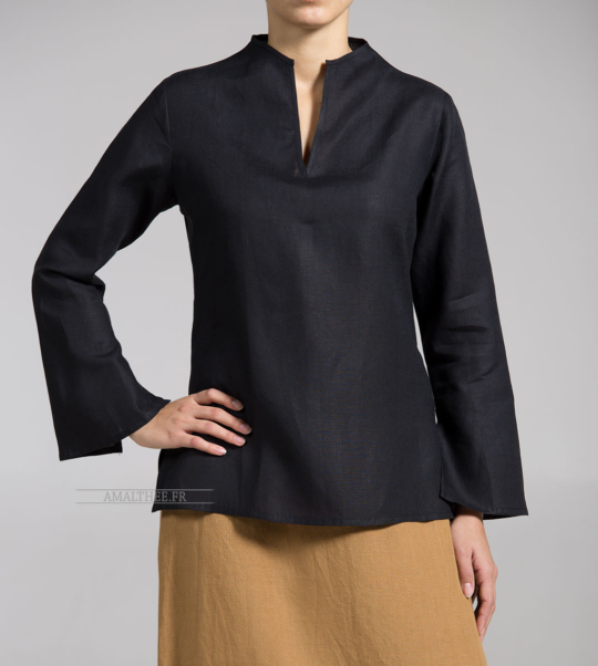Women black linen blouse bargain corner