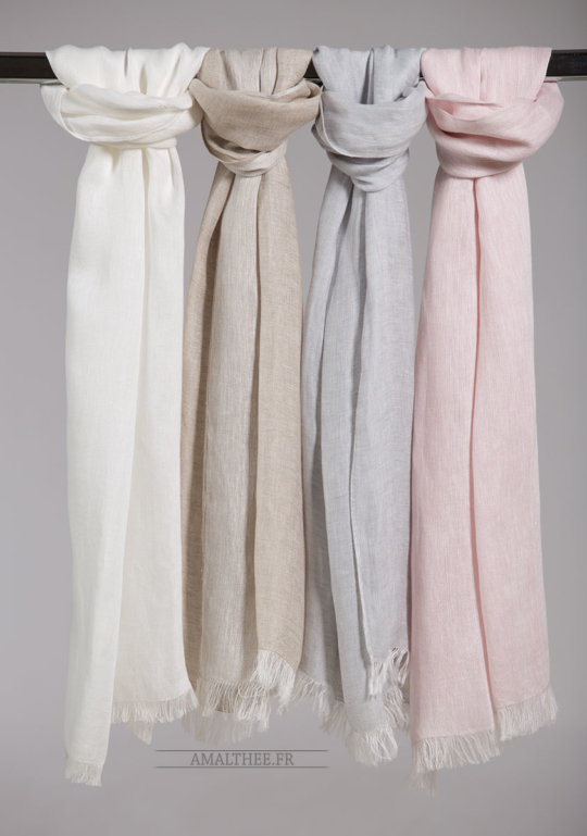Silver blue linen scarf Scarves