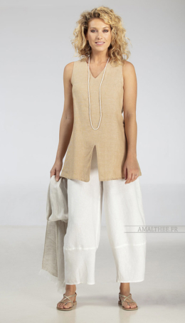 Top Arcade in beige linen Sleeveless tops