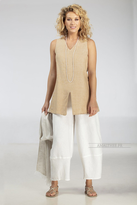 Match our golden beige (chambray) ARCADE TOP with our white linen  BABA Trousers (elastic waistband and side zip) to get the true spirit of Coastal Living ! Looks