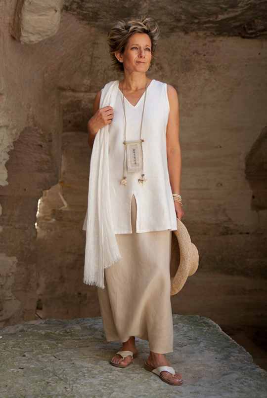 linen Outfit: sarouel skirt and short tunic Looks Spring summer