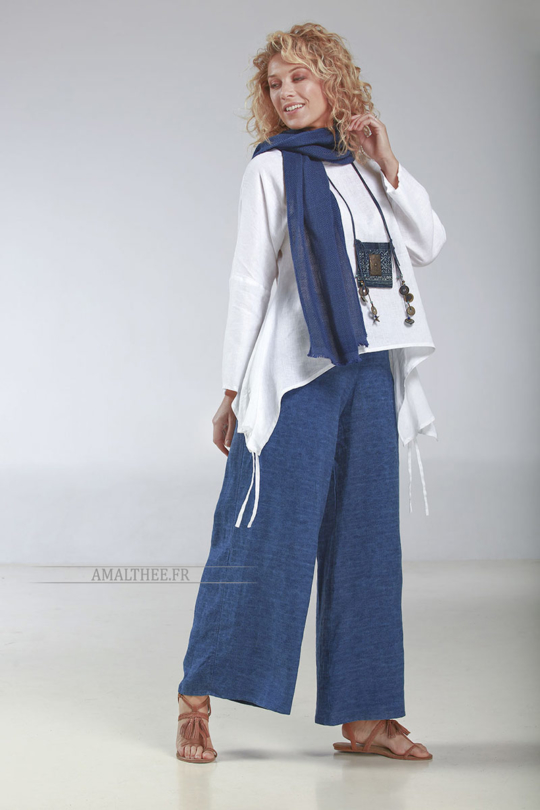 """Thin white linen loose fit Top """"Rubans"""", it matches perfectly with our blue stonewash indigo Baba  pants for a casual coastal spirit…A high quality European flax, souple and strong Looks Spring summer"""