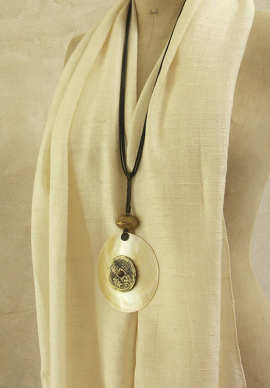 Mother pearl Necklace made of mother of pearl and ancient coin Jewellery