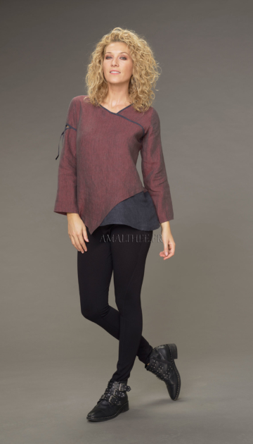 Two-tone Camille top in garnet / dark blue chambray linen with black jeggings Looks Winter autumn