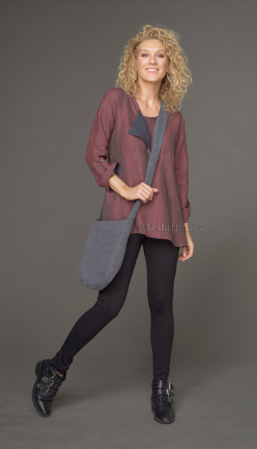 Mouse gray stonewashed linen bag Bags