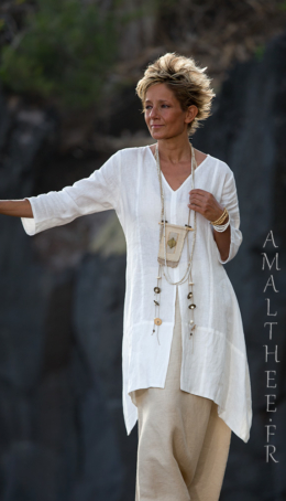 Our natural white linen shirt EmilieTHE must have of this summer! Blouses