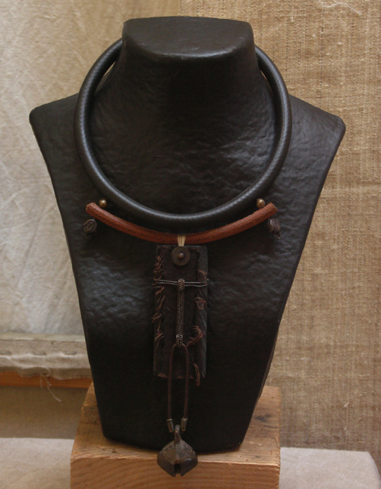 Ethnic necklace with ebony and an old bronze bell Jewellery