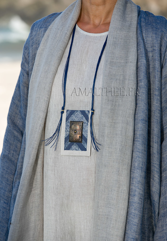 Loose fit blue linen summer coat Jewellery