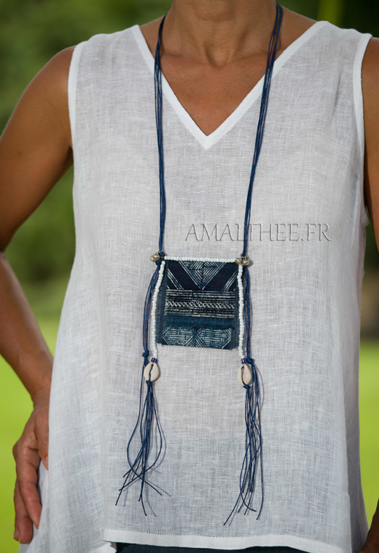 Blue necklace :exotic piece with a  true indigo blue Batik  from traditional skirts worn by Dao Jewellery