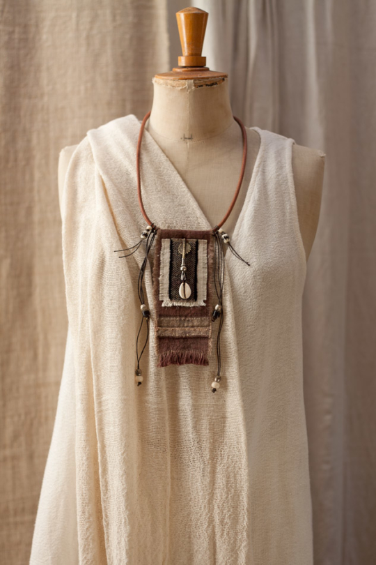 Upcycled handyed vintage french linen necklace Jewellery
