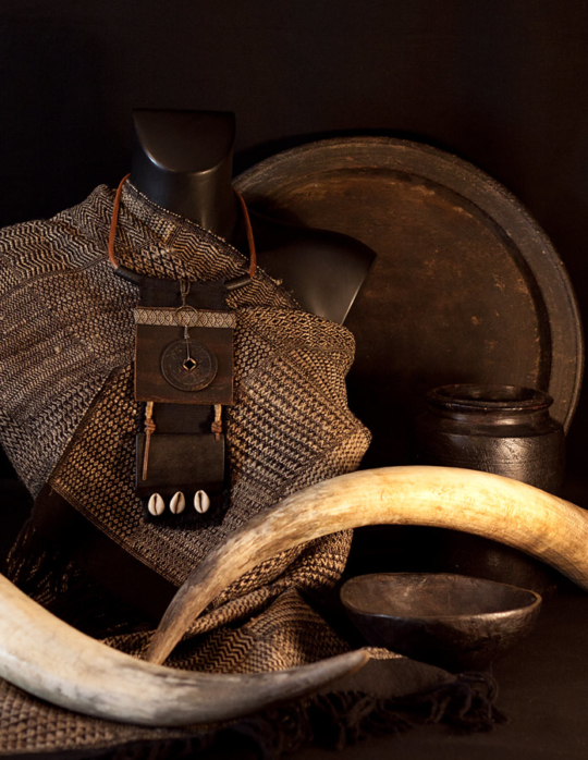 Bib Necklace tribal style made of ebony, ancient coint, shell and leather Jewellery