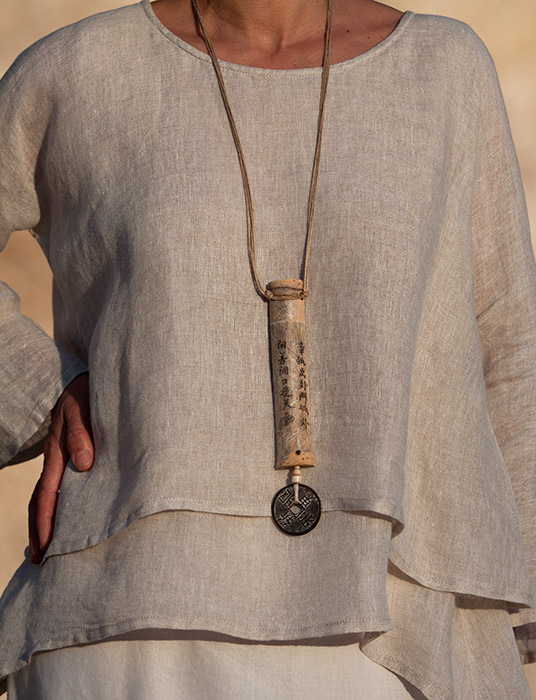 Zen bamboo necklace with chinese lucky coin Jewellery