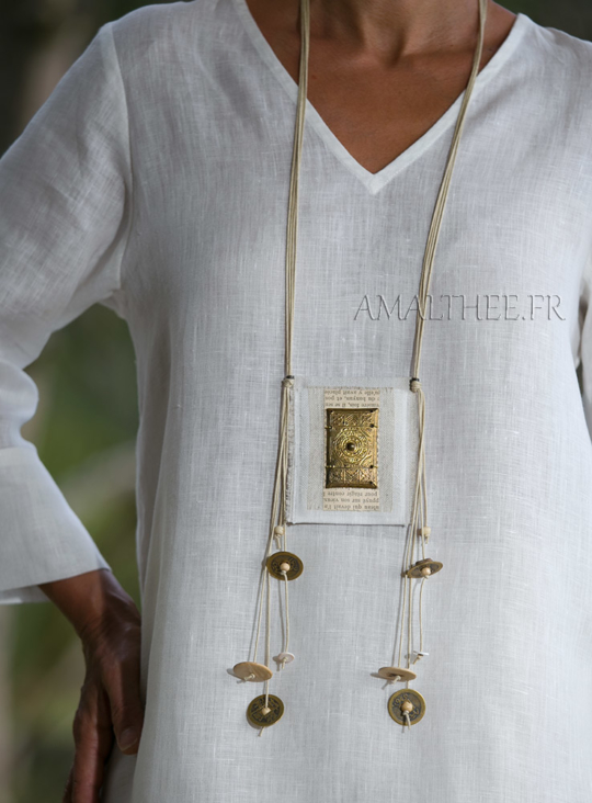 Linen pendant with ethnic beads Jewellery