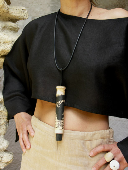 Pendant necklace: bamboo necklace with  calligraphy, rubber Jewellery