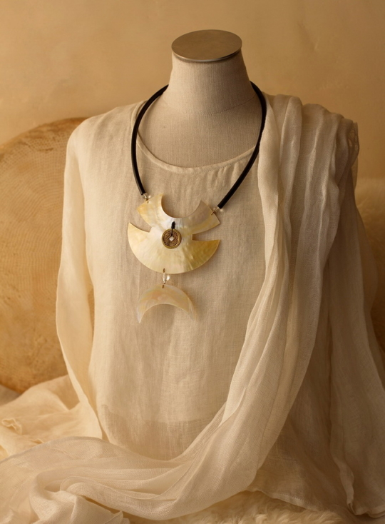 Large Necklace: Two hand cut mother of pearl pieces Jewellery