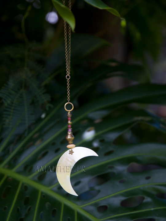 Mother of pearl Moon pendant with colourful glass beads on brass chain Jewellery