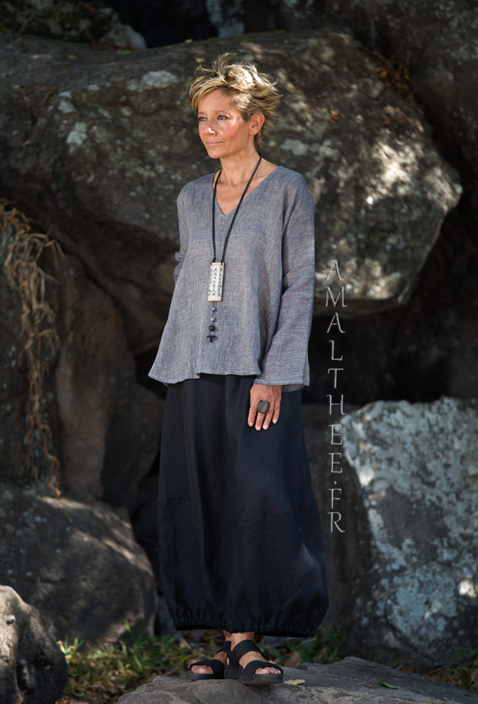 Slate grey linen gauze Dana top Tops with sleeves
