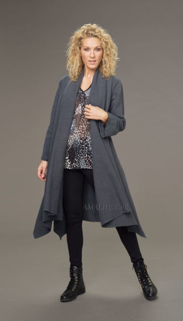 Adèle long unstructured coat in black wool linen and sea green print alaya tunic Looks Winter autumn