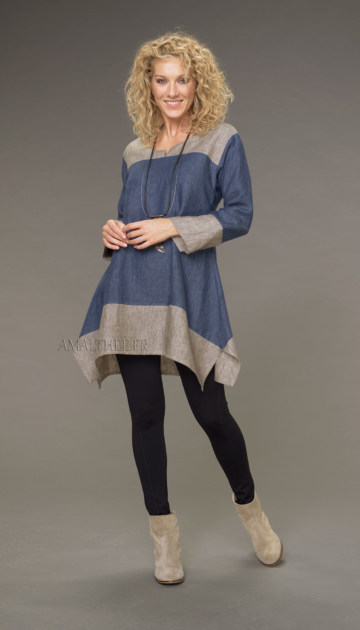 Elisa tunic in chambray linen short two-tone denim blue / taupe version Tunics