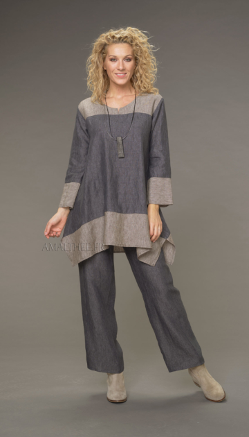 Slate gray linen topstitched Eden trousers trousers