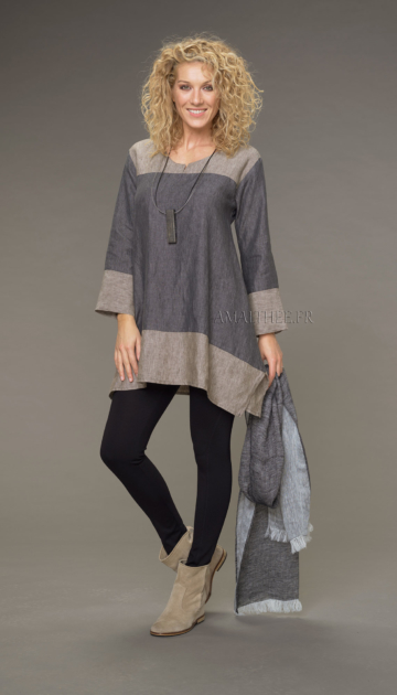Elisa tunic in chambray linen short two-tone slate gray / taupe version Tunics
