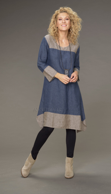 Elisa tunic in chambray linen two-tone dress version denim blue / taupe Tunics