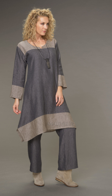 Elisa tunic in chambray linen, slate gray / taupe two-tone dress version Tunics