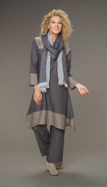 Black linen scarf with white Scarves
