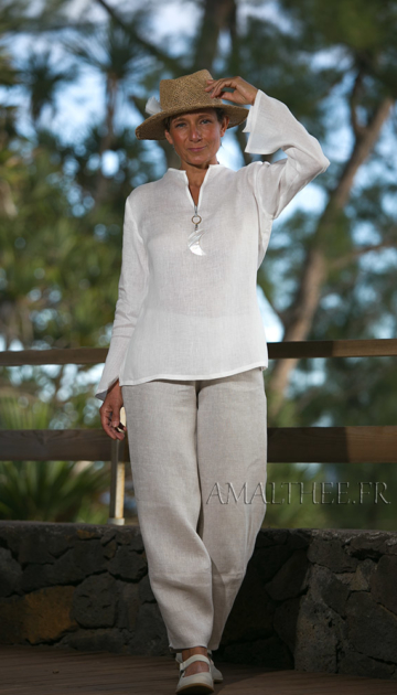 White linen blouse with oatmeal flax trousers Looks Spring summer