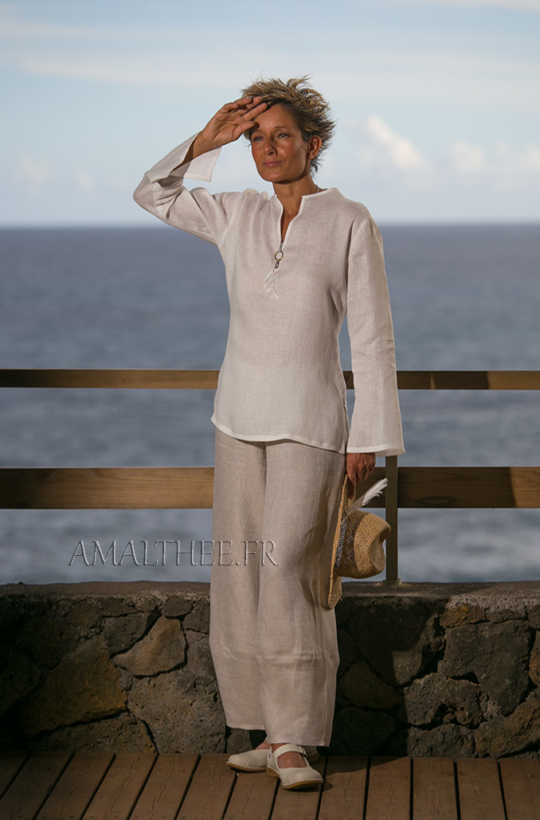 White linen blouse with oatmeal flax trousers Looks