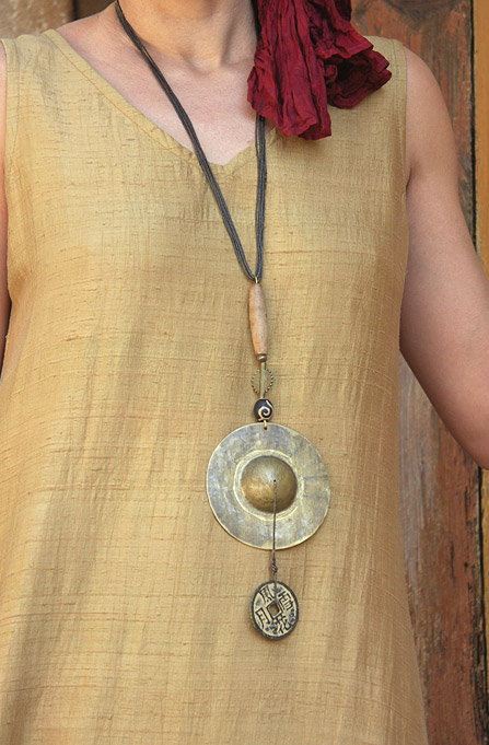 Ethnic necklace: Asian style hammered brass pendant Jewellery