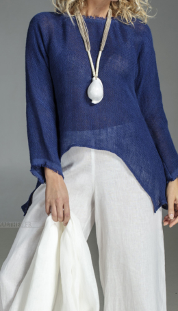 Blue indigo linen Joker mesh Tops with sleeves