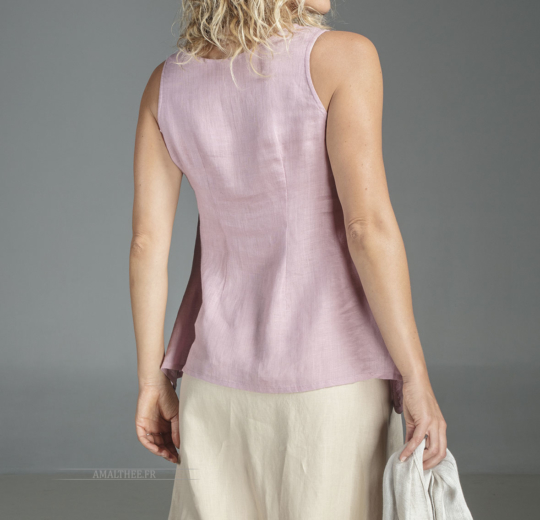 Pink linen top Vésuve Sleeveless tops