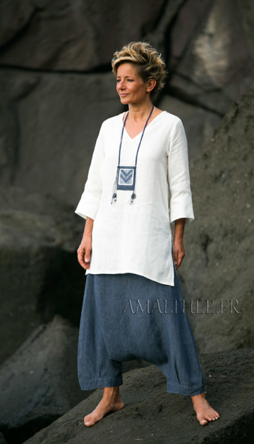 Women apparel: natural white fine linen tunic with a denim blue chambray linen harem pants Looks Spring summer