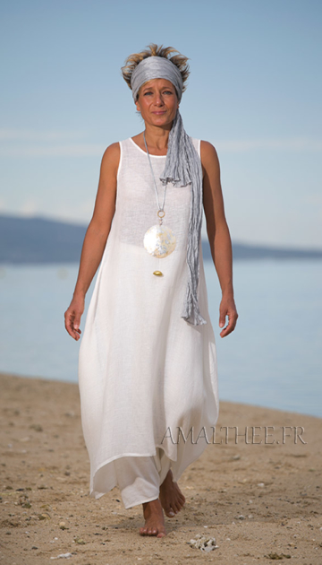 Natural white layered linen gauze tunic Looks Spring summer