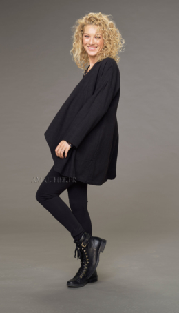 Lise coat in black wool linen (with tie on the side) Coats