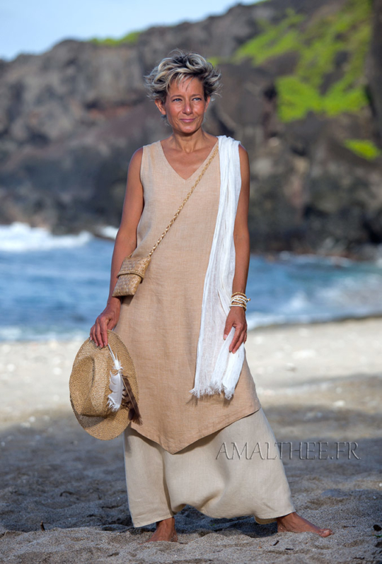 Flax linen outfit: long beige tunic and sarouel skirt Looks